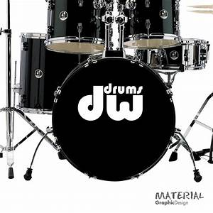 2x dw drums logo sticker decal fork bass drum head drums With bass drum lettering