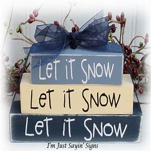 let it snow itty bitty wood block sign With let it snow wooden letters