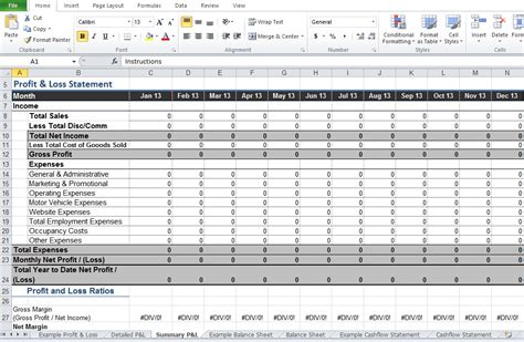 restaurant profit  loss statement template excel