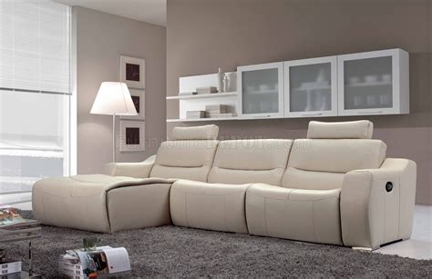 modern leather sectional sofa with recliners off white leather 2143 modern reclining sectional sofa by esf