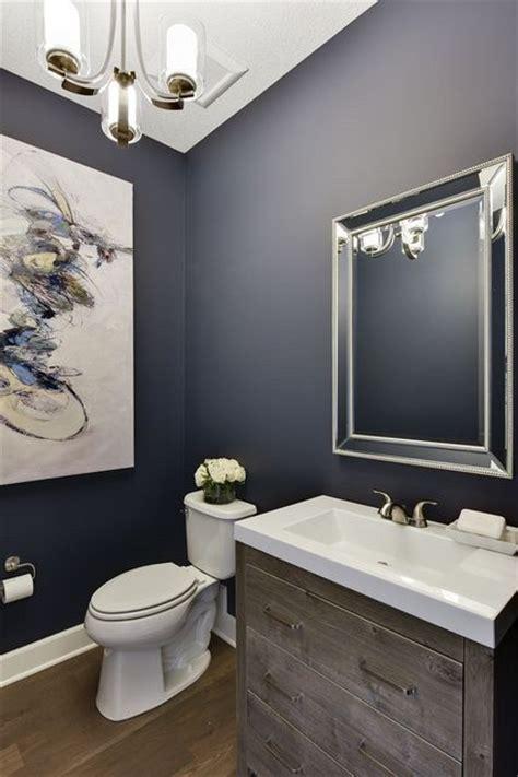 powder room bathroom  navy blue walls white trim