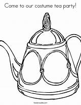 Tea Coloring Party Come Costume Pages Twisty Printable Teapot Noodle Sheets Built California Usa Sheet Twistynoodle Decorative sketch template