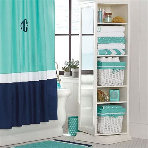 color block shower curtain pool royal navy home