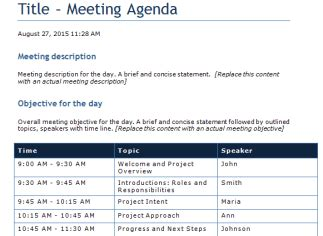 Time Agenda Template Word by Word Templates Outlook Templates User Guide Templates
