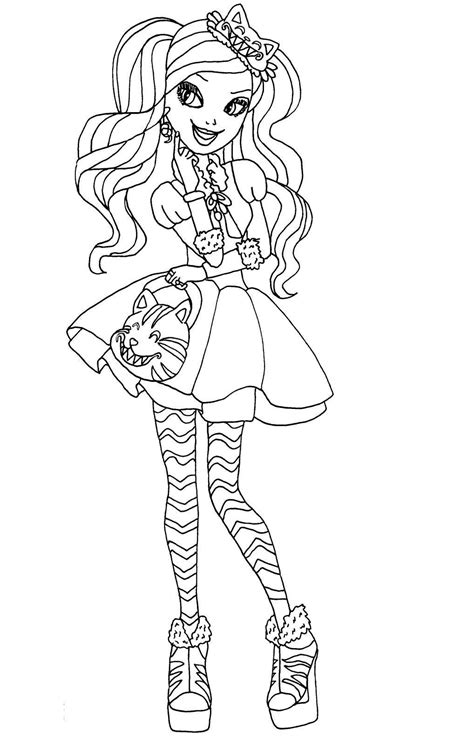 high coloring pages kitty cheshire drawing