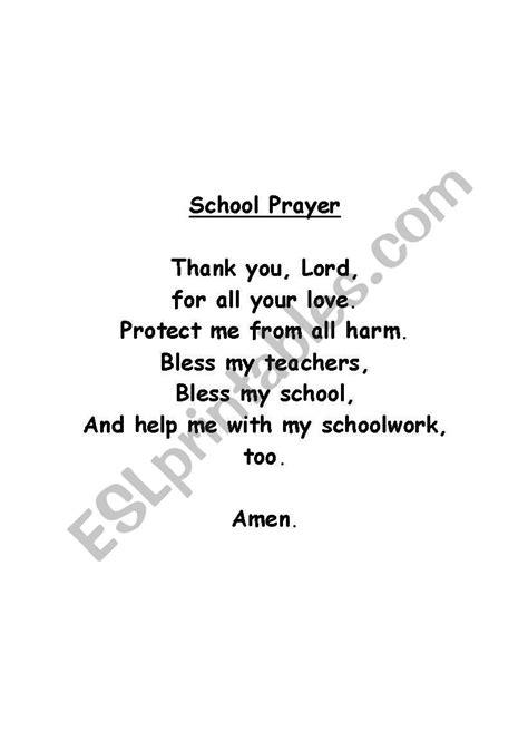 English worksheets: School Prayer