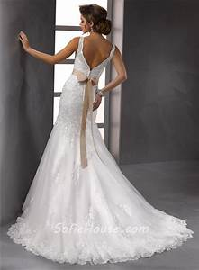 glamorous trumpet mermaid straps v neck beaded lace With lace wedding dress with belt