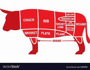 Beef Cuts Chart Royalty Free Vector Image
