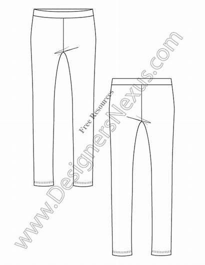 Leggings Drawing Technical Illustrator Knit Template Flat