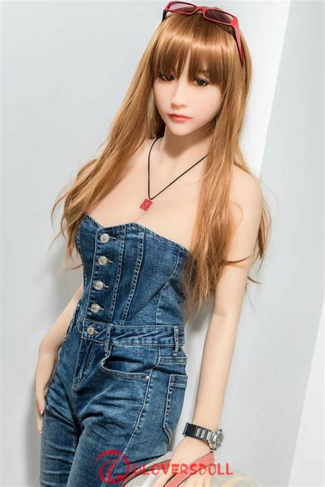 Blonde 158cm Real Size Young Sex Dolls Denim Dress Literary Girl