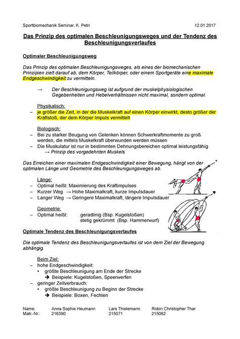 Prinzip der optimalen Tendenz des Beschleunigungsverlaufes - StuDocu