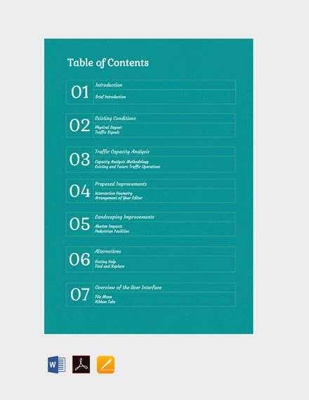 generic table  contents template  word