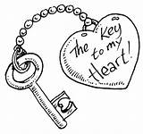 Coloring Pages Heart Cute Drawings Easy Key Boyfriend Colouring Template Skull Drawing Keyhole Couple Lock Sheet Valentines Printable Catcher Holder sketch template