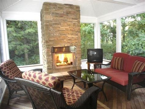 Screen Porch Fireplace Inside Screened In With Idea 23