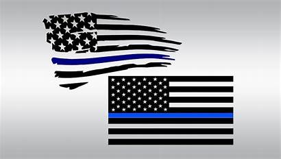 Flag Police American Svg Clipart Line Thin
