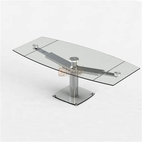 table de cuisine ronde avec rallonge table repas moderne extensible pied acier verre