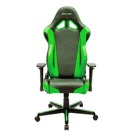dxracer racing series gaming chair neck lumbar support black green big box computers