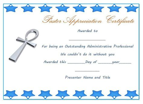 21 Best Pastor Appreciation Certificate Templates Images Pastor Appreciation Certificate Template Free Printable