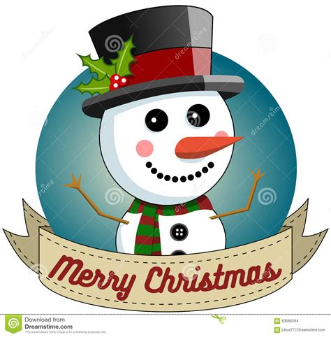 snowman merry christmas round frame stock vector image 63566294