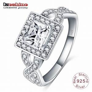 lzeshine hot solid 925 sterling silver square rings cubic With square wedding rings for women