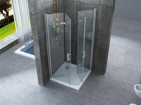 porta soffietto doccia box doccia in cristallo 8 mm frameless due lati con due