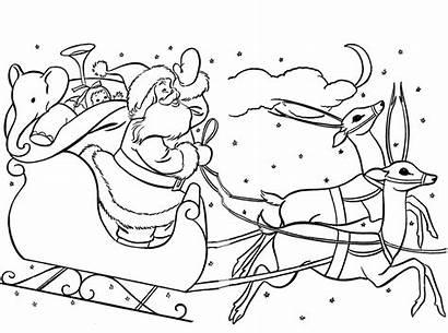 Sleigh Santa Coloring Claus Pages Christmas Printable