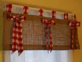 burlap tab valance with red and white check tabs and bows