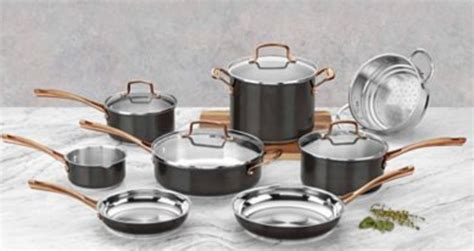 cuisinart onyx black rose gold  pc stainless steel cookware set  freebiesdeals