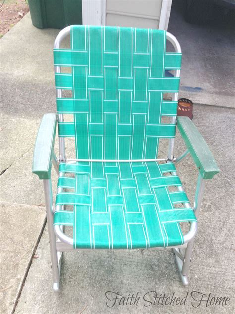 Vintage Webbed Lawn Chairs by Outdoors Faith Stitched Home