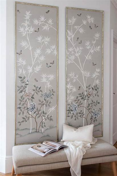 Chinoiserie Panels Framed Bedroom French Interior Painted