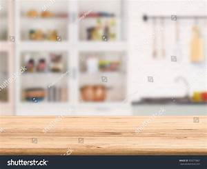 Wooden Counter Top Kitchen Cabinet Background Stock Photo