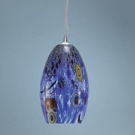 lbl monty 7 1 2 quot wide blue murano glass pendant light