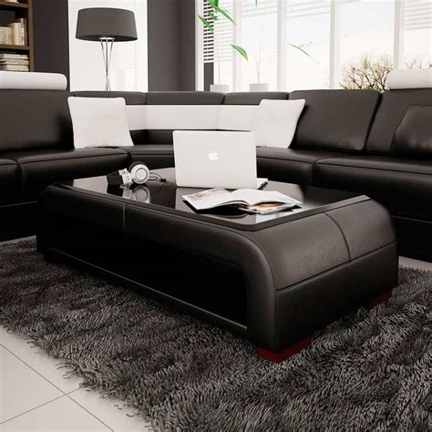 black contemporary coffee table modern black bonded leather coffee table with glass top