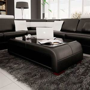 modern black bonded leather coffee table with glass top With leather and glass coffee table
