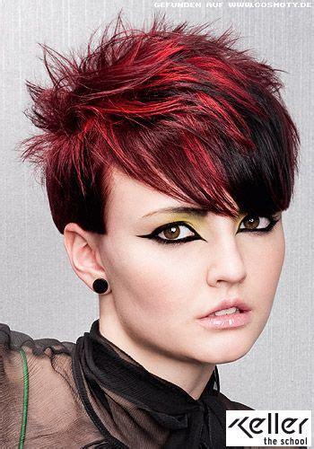 haare mit roten strähnen bilder kurzes haar mit auff 228 llig roten str 228 hnen frisuren frisuren kurzhaarfrisuren und frisuren kurz