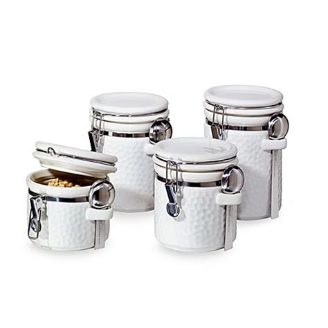 oggi kitchen canisters oggi hammered ceramic 4 piece canister set white bed bath beyond