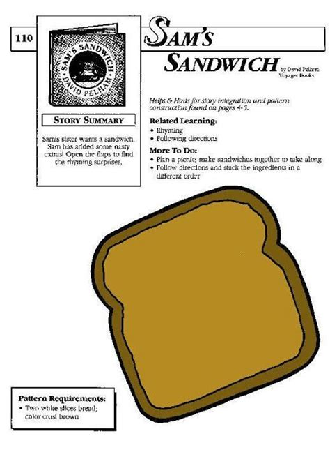 sams sandwich images  pinterest preschool art