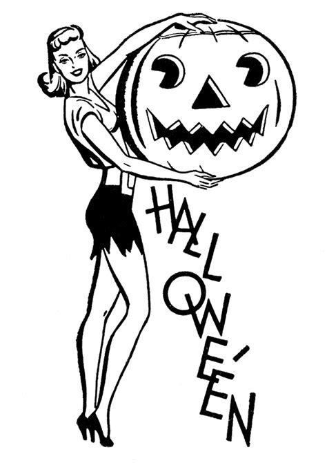 Retro Halloween Clip Art - Pretty Lady with Pumpkin - The