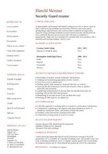resume format for security guard security guard cv sle