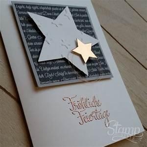Edle Weihnachtskarten Basteln : weihnachtskarte kupferstern stamp style ~ A.2002-acura-tl-radio.info Haus und Dekorationen