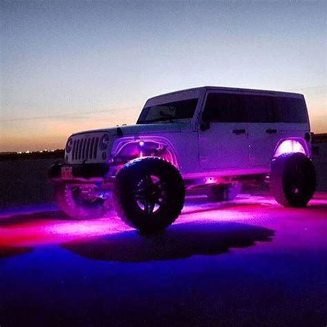 light pink jeep bluetooth remote 8pc rgb led rock light pod kit vivid