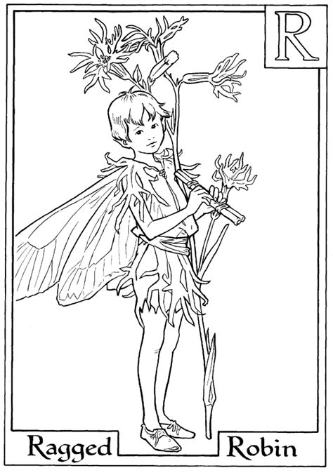 Letter R For Ragged Robin Flower Fairy Coloring Page (With