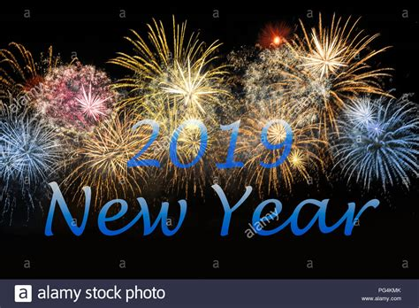 New Year 2019 Celebration Colorful Fireworks. New Year And