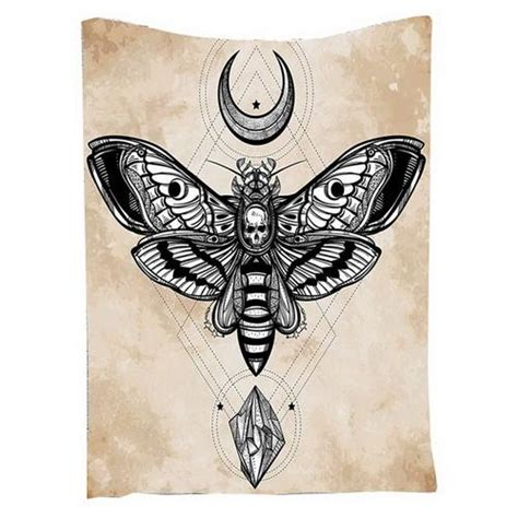 gothic bohemian skull moth wiccan moon horn wall tapestry