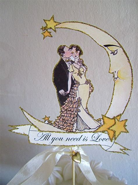 Art Nouveau Wedding Cake Topper Crescent Moon And Stars