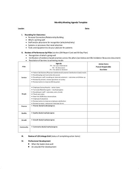microsoft meeting agenda templates  sample