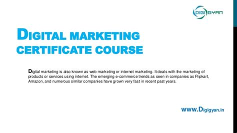 Digital Marketing Certificate by Digital Marketing Certificate Course
