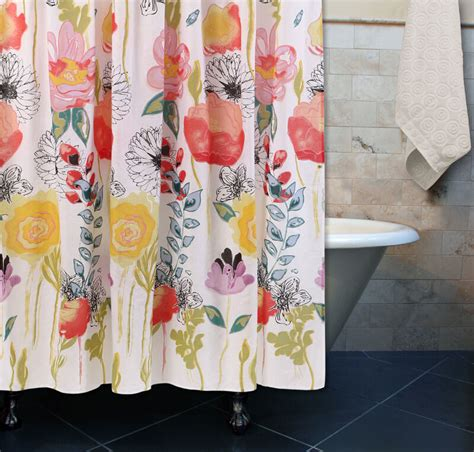 shower curtain flowers watercolor floral shower curtain yellow coral