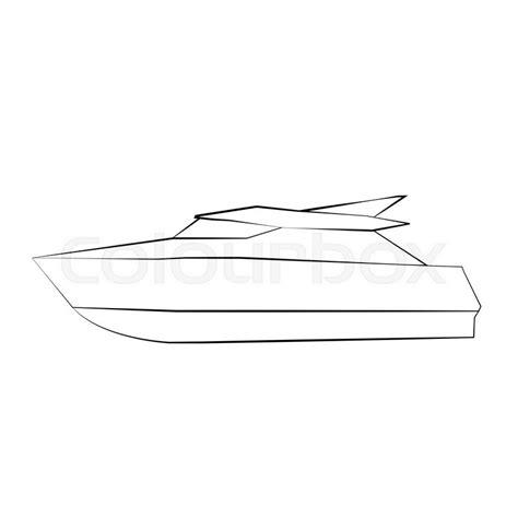 Motor Boat Outline by Black Outline Vector Boat On White Background Stock