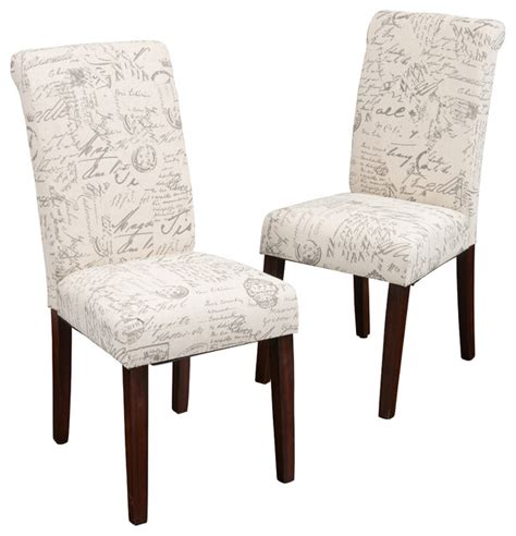 set   script printed linen dining chairs transitional dining chairs  great deal furniture